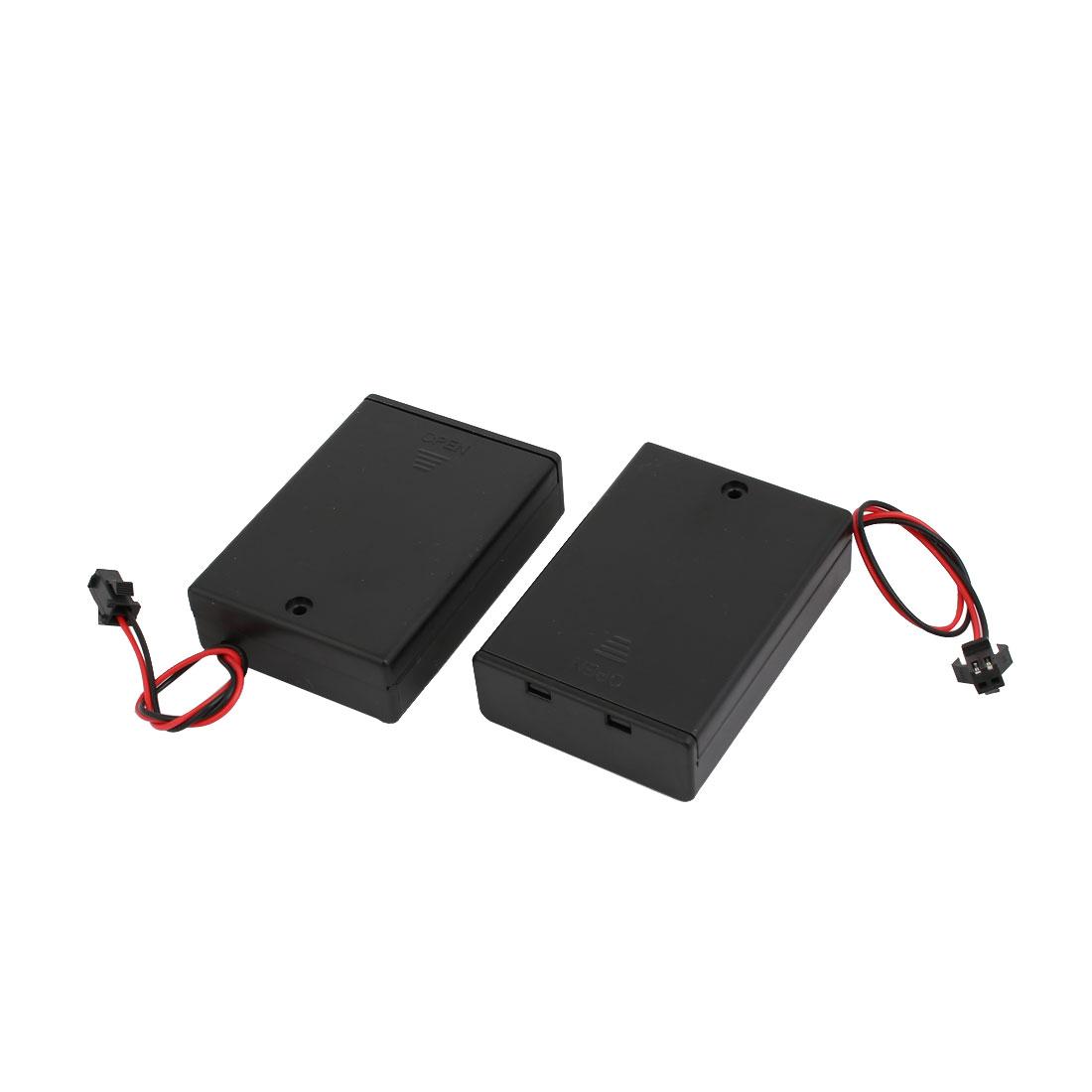 2Pcs Black Wired 3x1.5V AA Battery Storage Case Box On/Off Switch w Cap