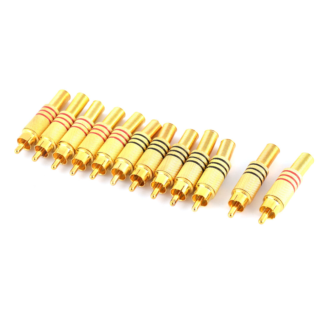Metal Spring Male Audio Connectors Adapters RCA Gold Tone 12pcs