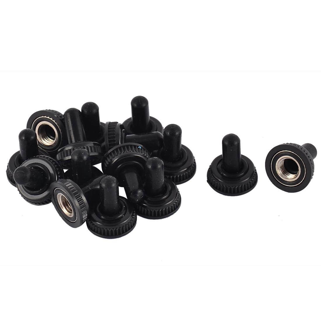 Rubber Insulating Rocker Toggle Switch Knob Boot Cover Cap Black 15pcs