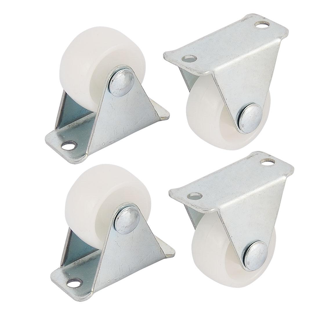 Metal Top Plate 1 Inch Dia Rigid Fixed Caster Hard Plastic Wheels White 4pcs
