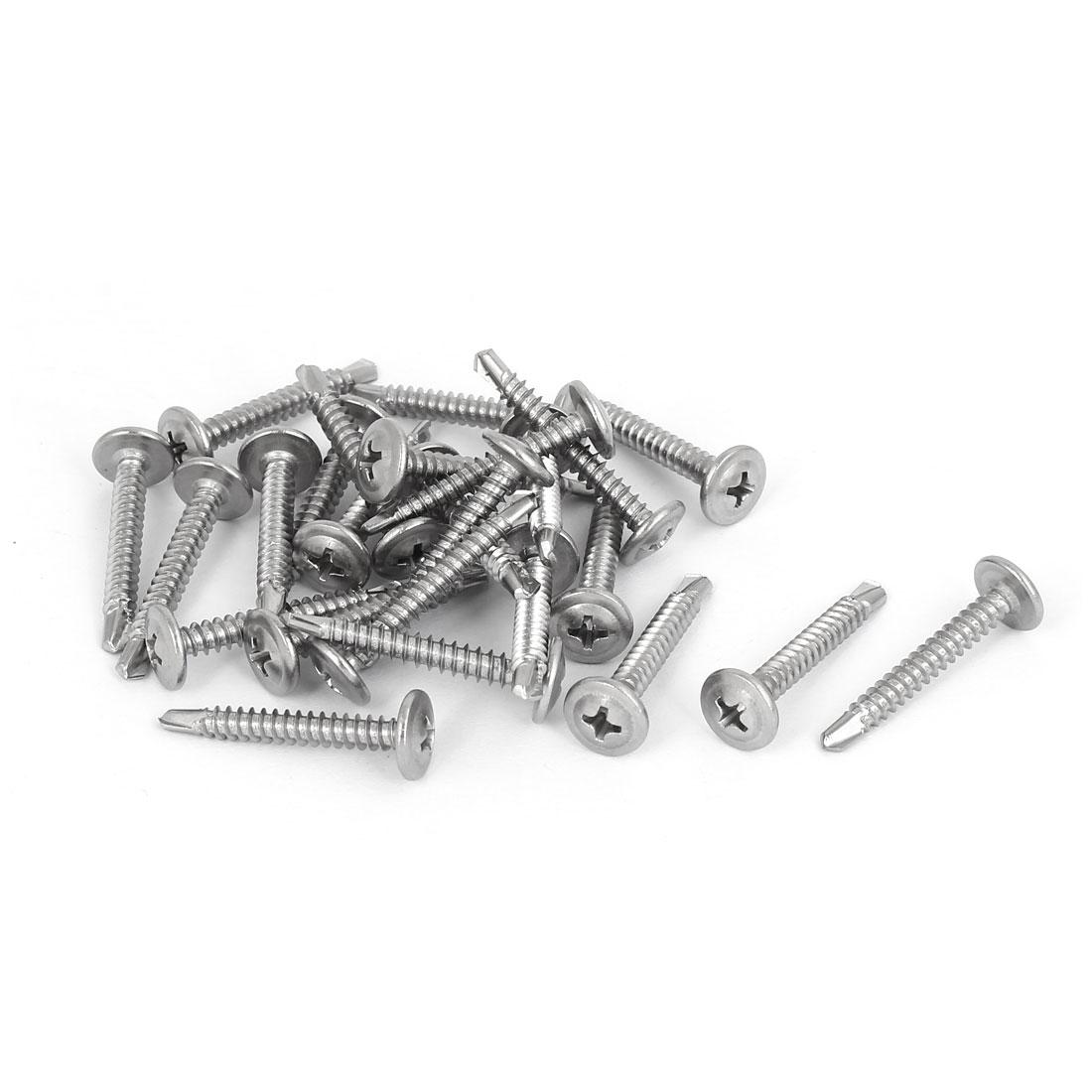 M4.2 x 32mm Thread Metal Round Phillips Head Self Drilling Screws 25 Pcs