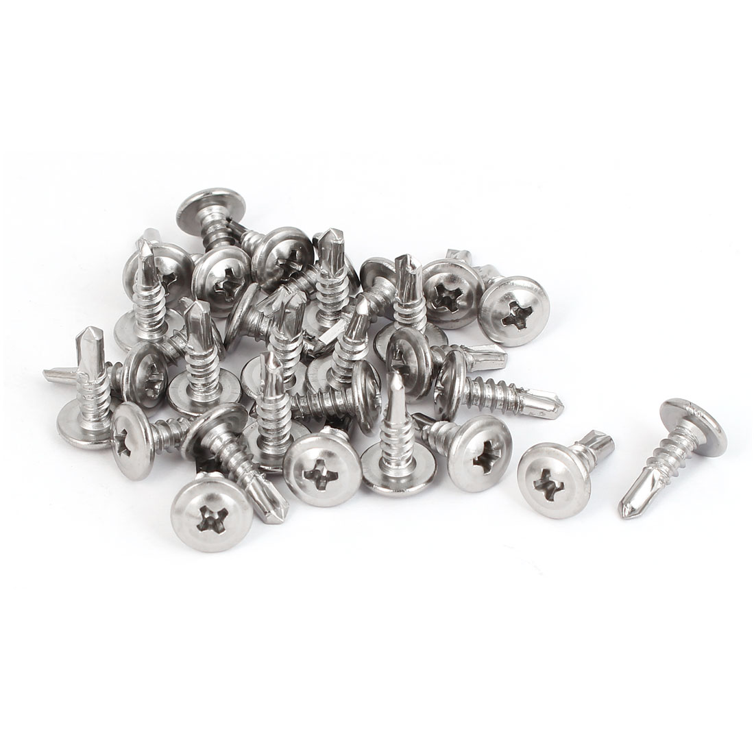 M4.8 x 16mm Metal Round Phillips Head Self Drilling Tek Screws 30 Pcs