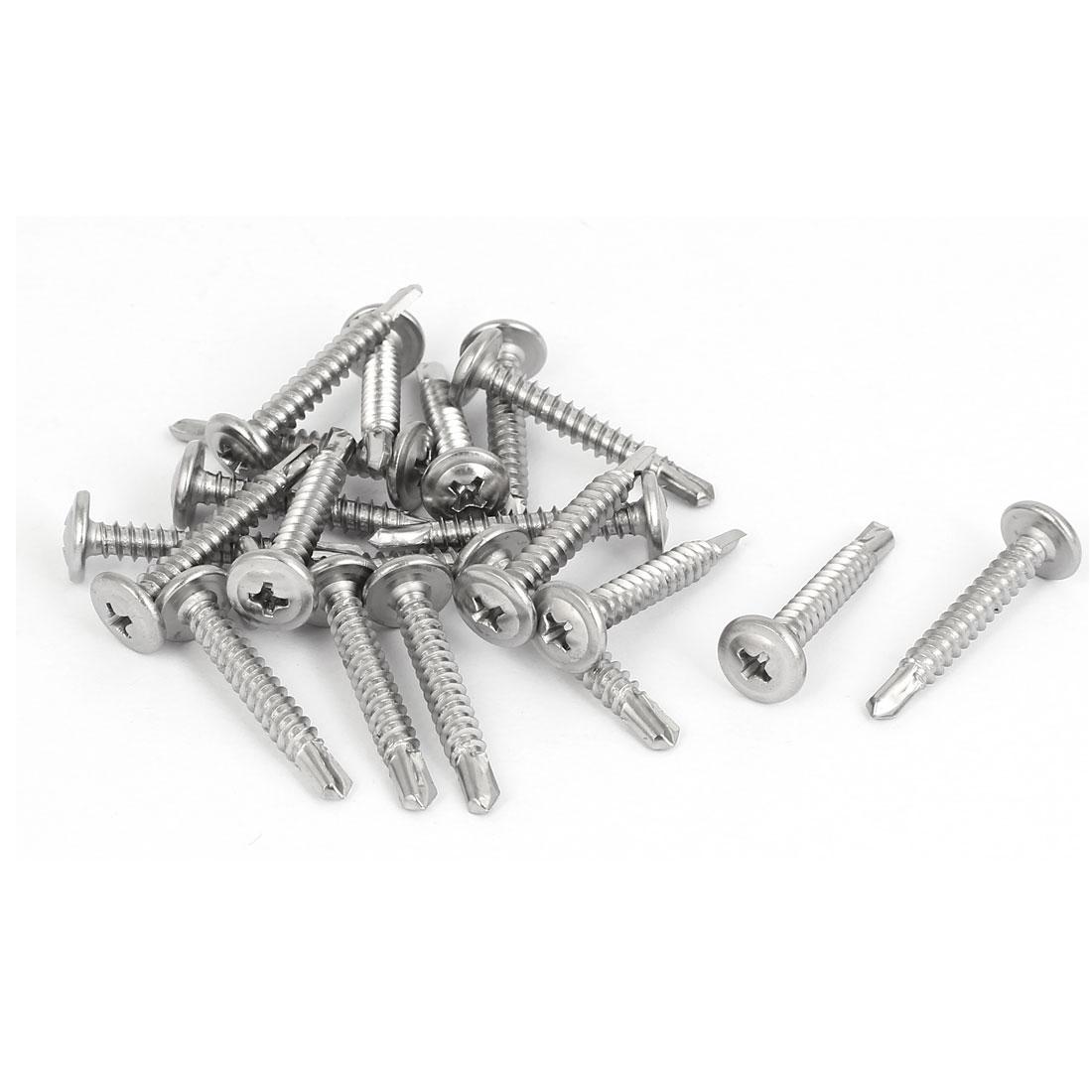 M4.8 x 32mm Thread Metal Round Phillips Head Self Drilling Tek Screws 20 Pcs