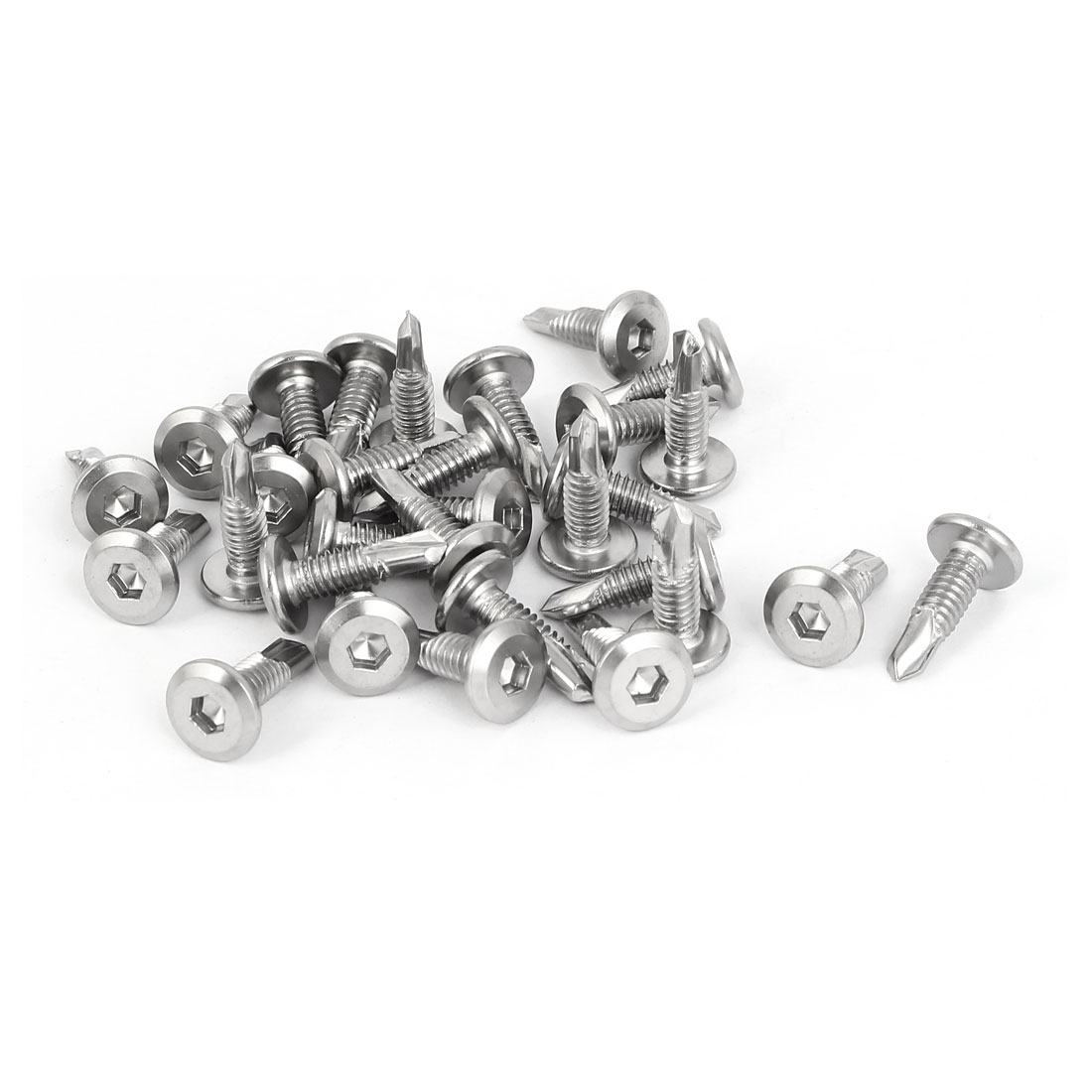 M5.5x19mm Male Thread Hex Socket Cap Flat Head Self Drilling Screws Bolts 30 Pcs