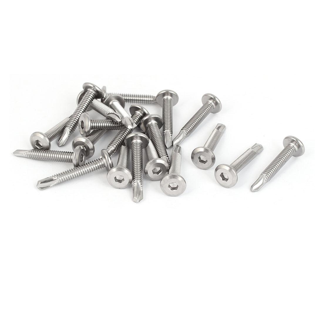 M5.5x35mm Thread Metal Hex Socket Flat Head Self Tapping Drilling Screws 20 Pcs