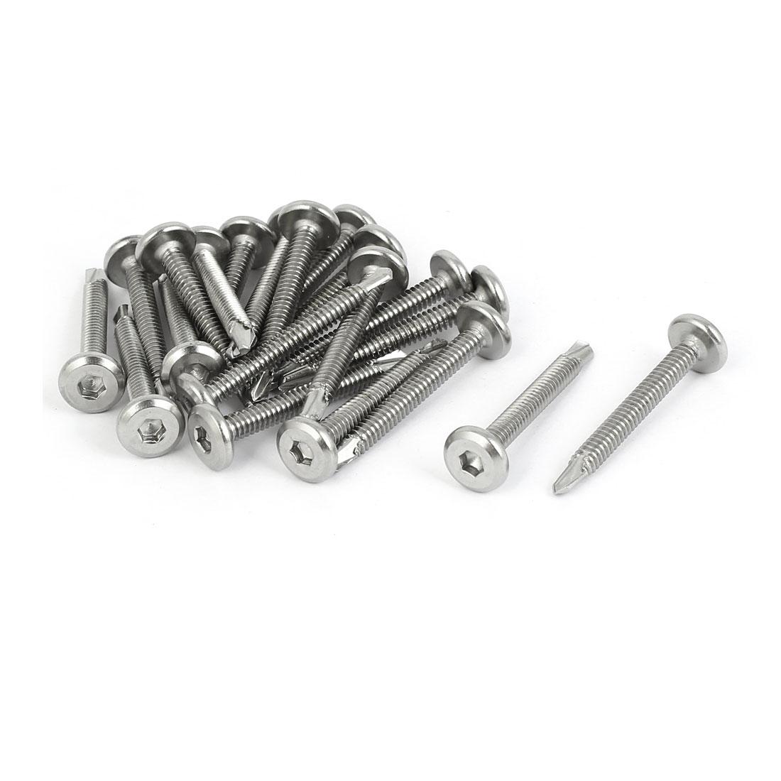 M5.5x42mm Thread Metal Hex Socket Cap Flat Head Self Drilling Tek Screws 20 Pcs