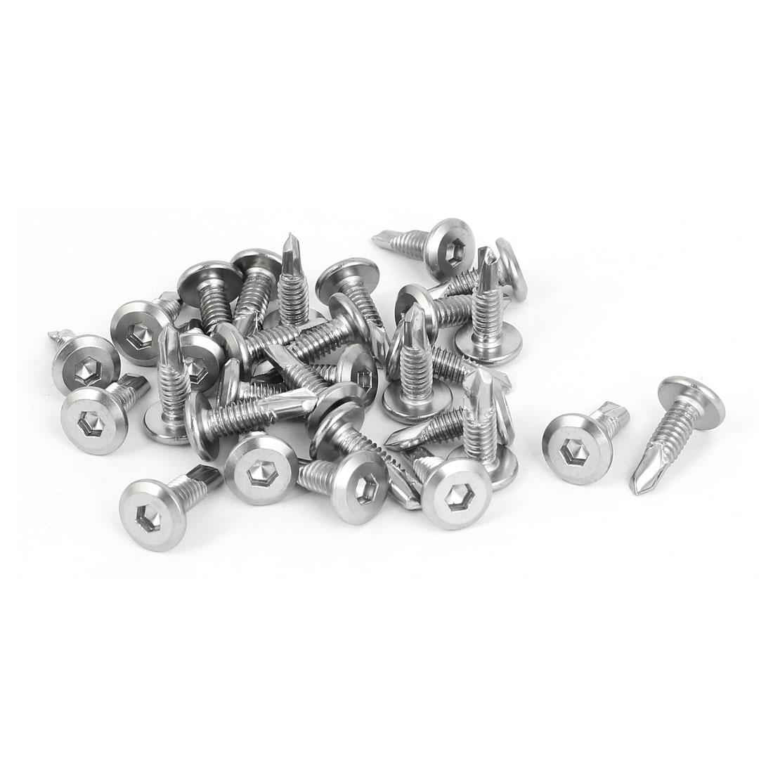 M6.3 x 16mm Male Thread Hex Socket Cap Flat Head Self Drilling Tek Screws 30 Pcs