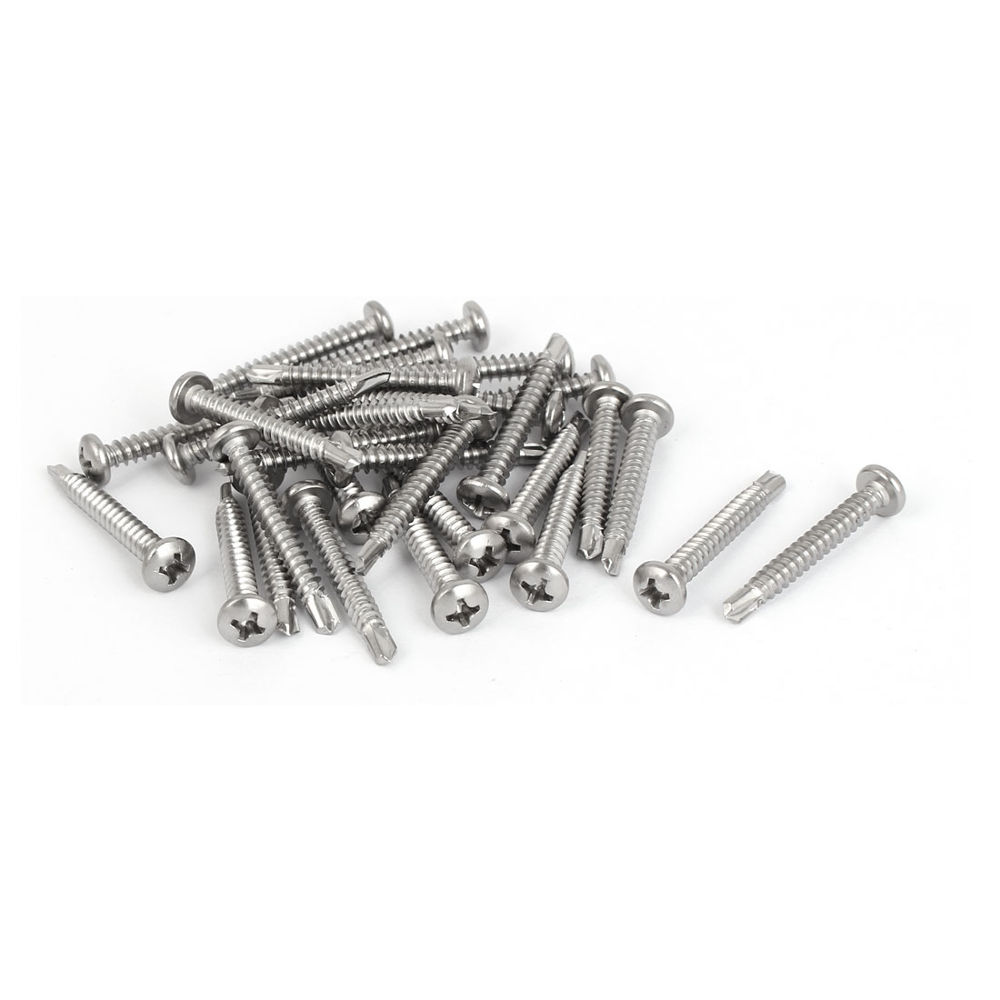 M4.2 x 32mm Male Thread 410 Stainless Steel Self Drilling Screws 30 Pcs