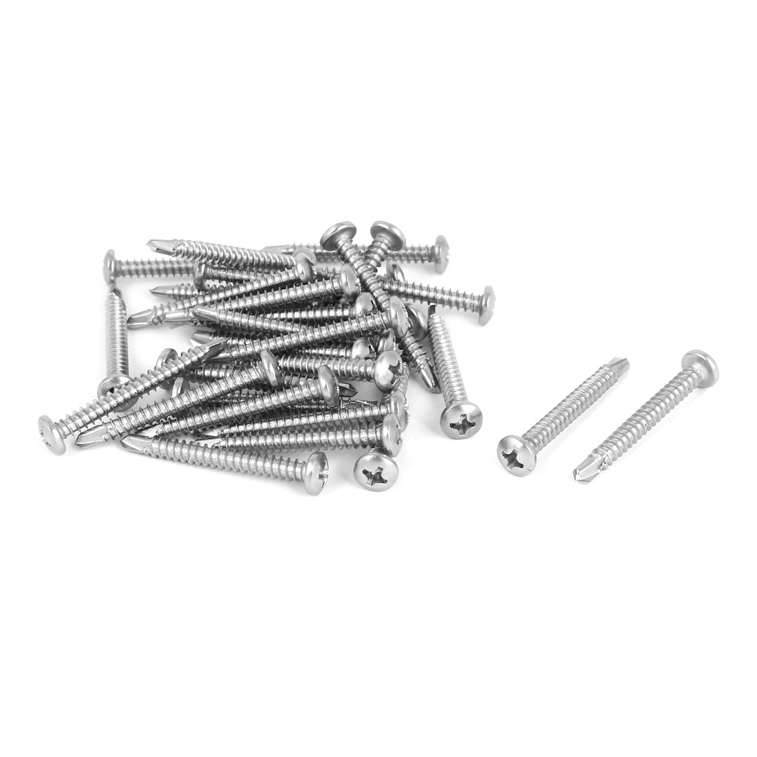 M4.2 x 38mm Thread Phillips Pan Head Self Drilling Tek Screws 30 Pcs