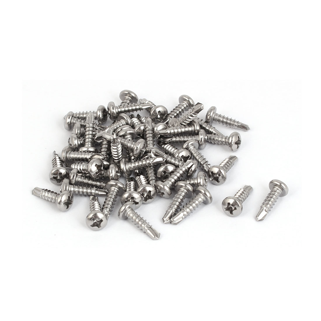 M3.5 x 13mm Male Thread Phillips Pan Head Self Drilling Screws 50 Pcs