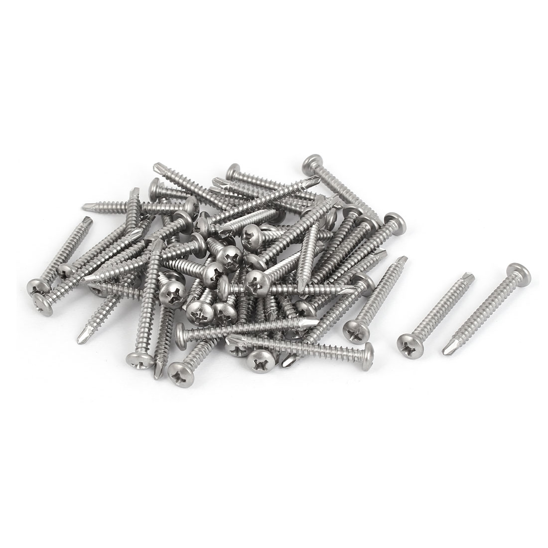 M3.5 x 32mm Thread 410 Stainless Steel Pan Head Self Drilling Screws 50 Pcs