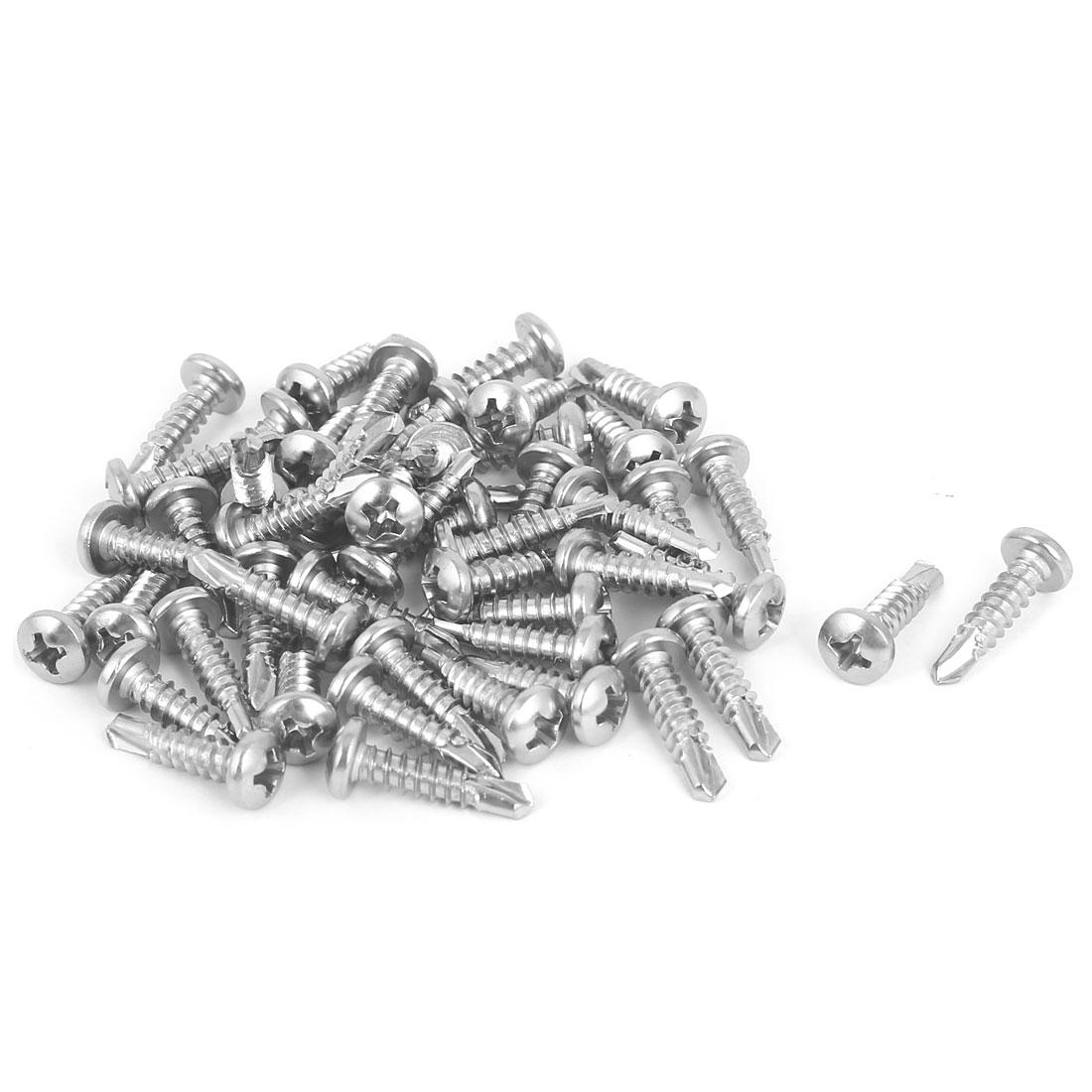 M3.9 x 16mm Thread Phillips Pan Head Self Drilling Tek Screws 50 Pcs