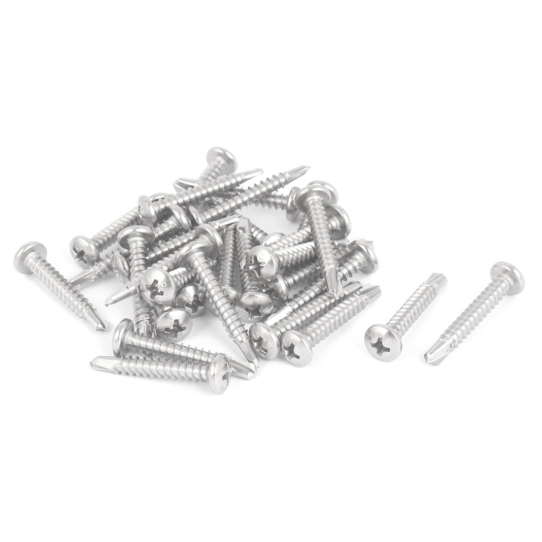 M4.8 x 32mm Thread Phillips Pan Head Self Drilling Tek Screws 30 Pcs