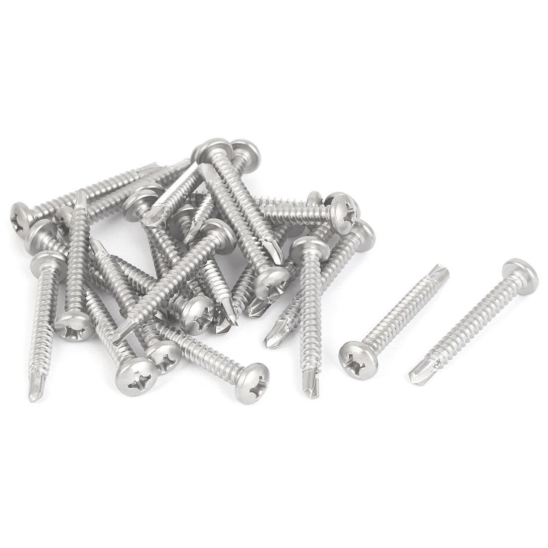 M5.5 x 45mm Male Thread Phillips Pan Head Self Drilling Screws Bolts 25 Pcs