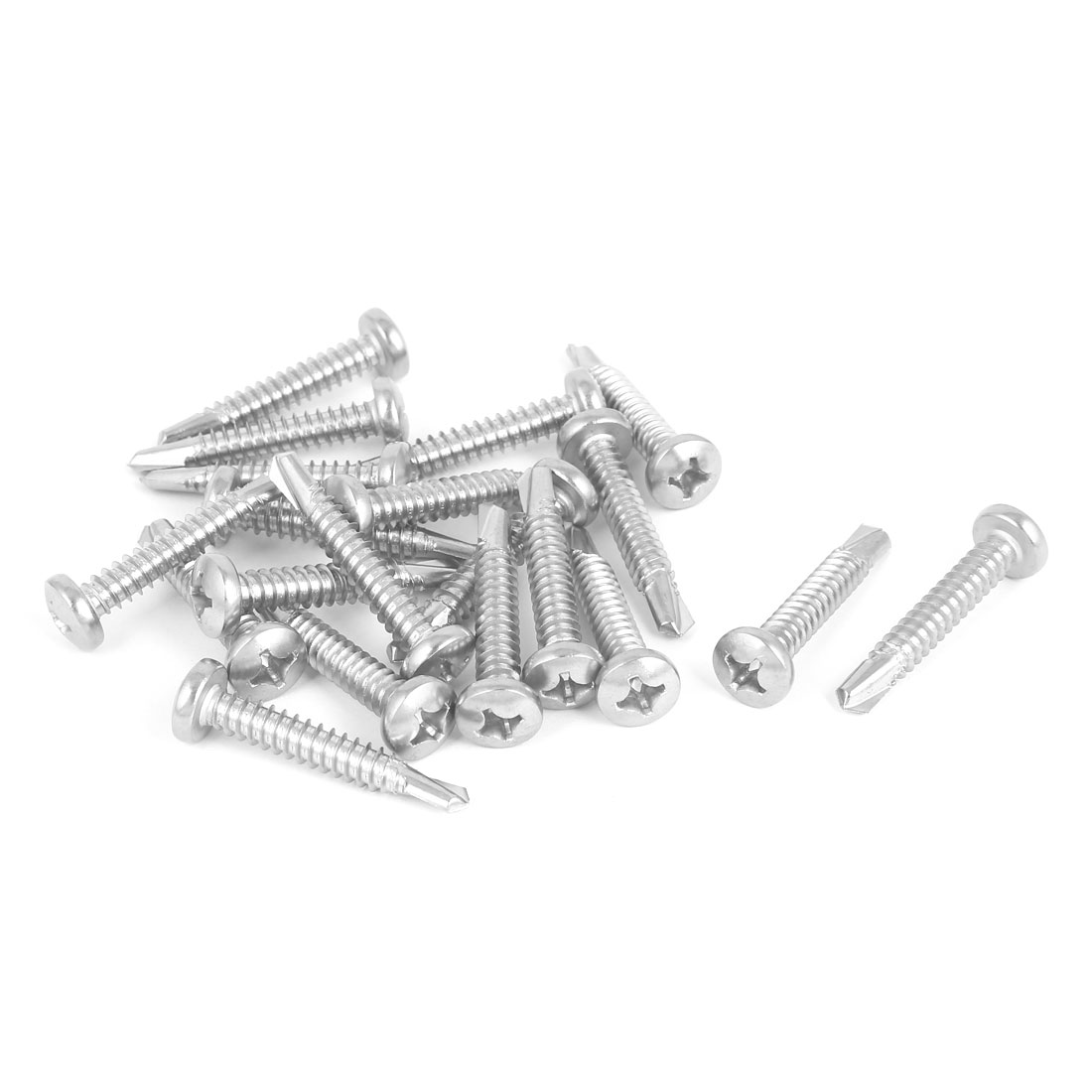 M6.3 x 38mm Thread 410 Stainless Steel Pan Head Self Drilling Screws 20 Pcs
