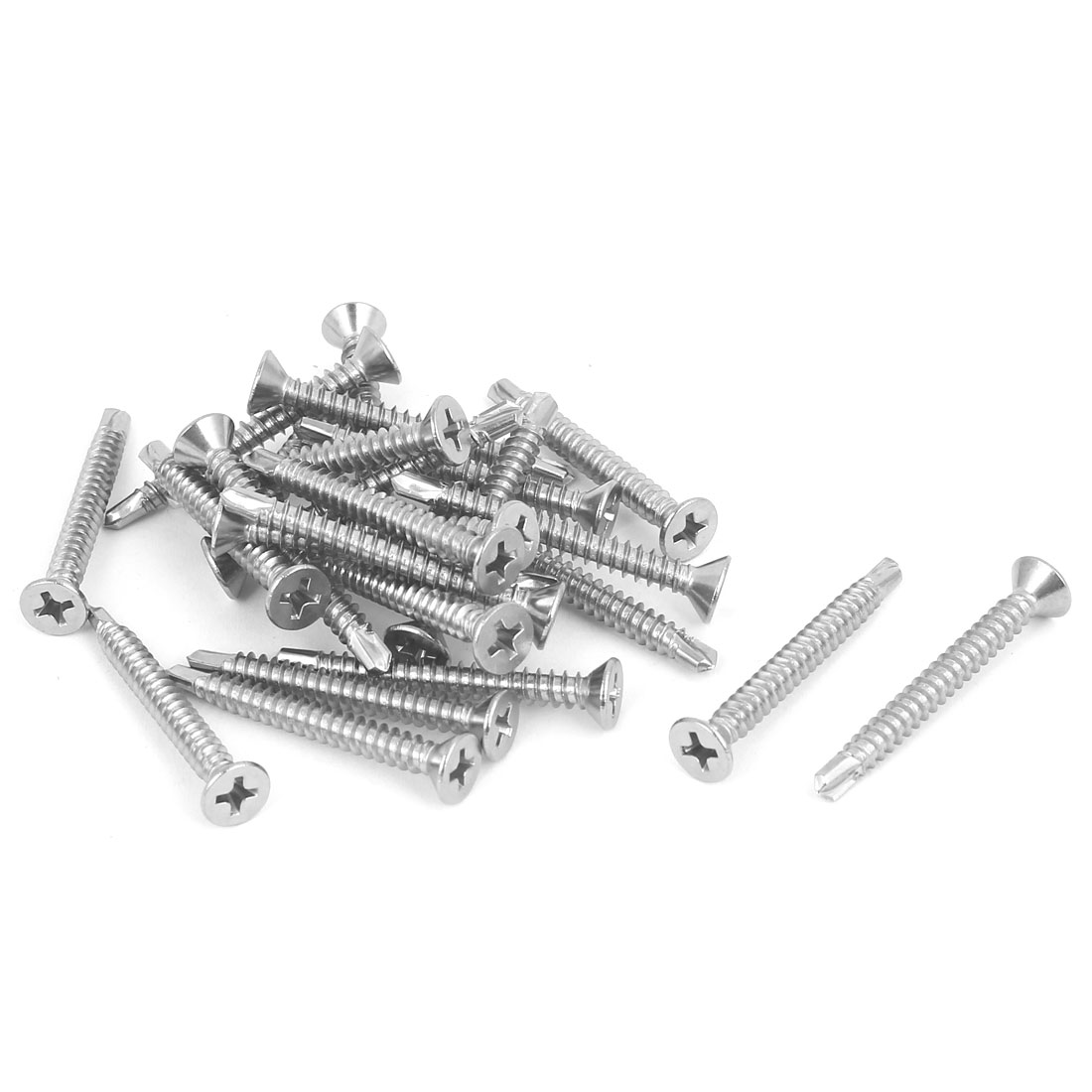 M4.2 x 38mm Male Thread Phillips Countersunk Head Self Drilling Screws 25 Pcs