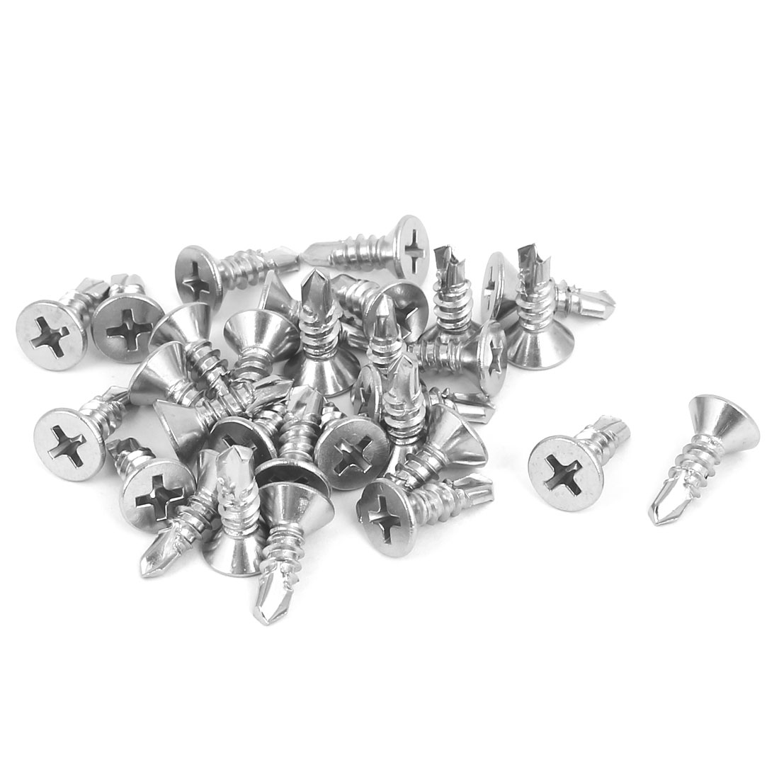 M4.8 x 16mm 410 Stainless Steel Countersunk Head Self Drilling Screws 30 Pcs