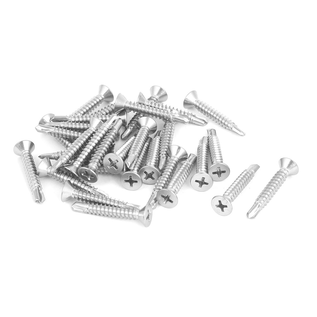 M4.8 x 32mm 410 Stainless Steel Countersunk Head Self Drilling Screws 30 Pcs
