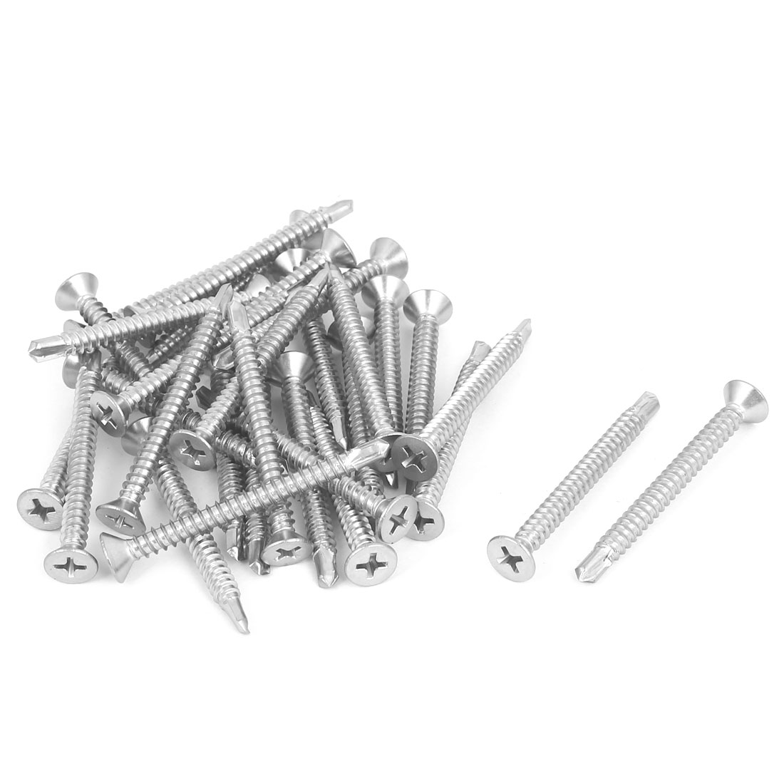 M4.8x50mm 410 Stainless Steel Countersunk Head Self Drilling Screws Bolts 30 Pcs