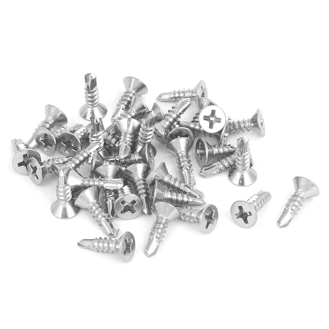 M3.5 x 13mm Male Thread Phillips Countersunk Head Self Drilling Screws 40 Pcs