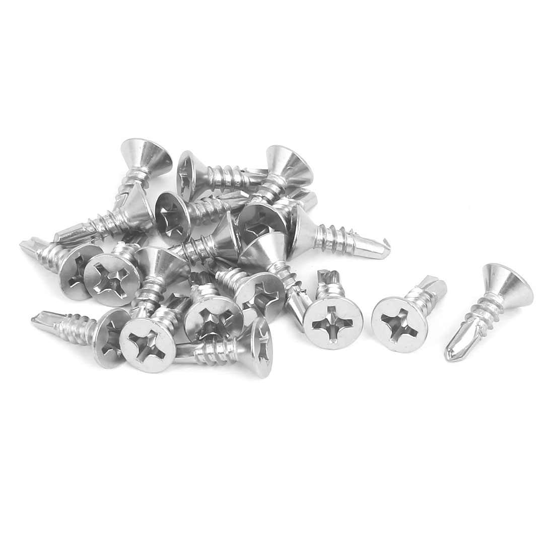 M5.5 x 19mm 410 Stainless Steel Countersunk Head Self Drilling Screws 20 Pcs