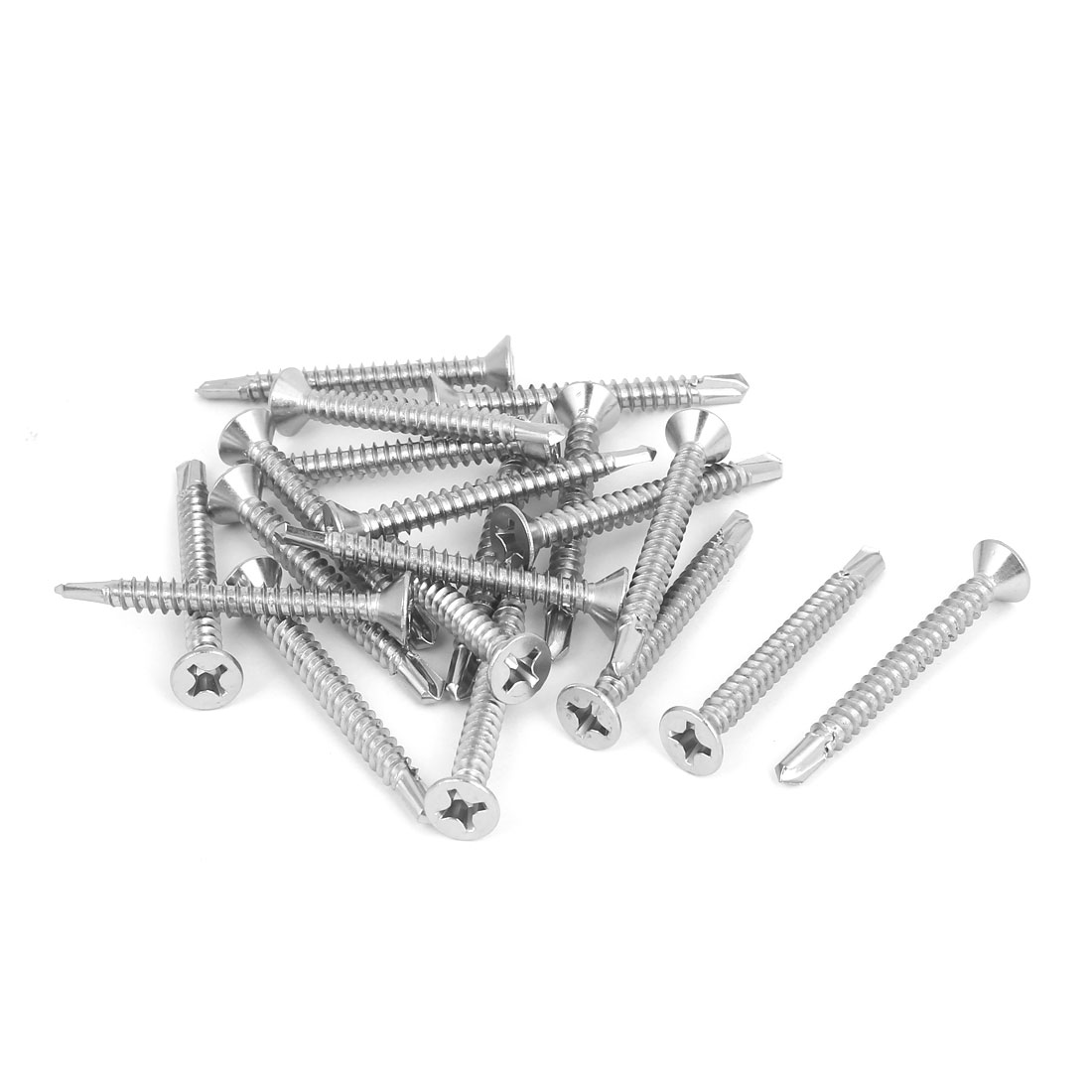 M5.5 x 50mm Phillips Countersunk Head Self Drilling Tek Screws Bolts 20 Pcs