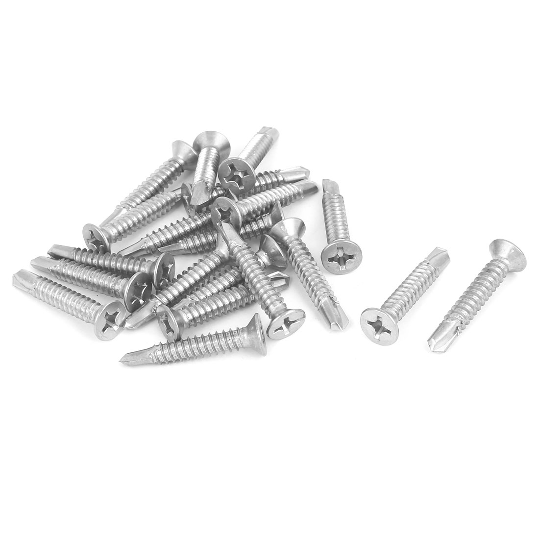 M6.3 x 38mm Phillips Countersunk Head Self Drilling Tek Screws Bolts 20 Pcs