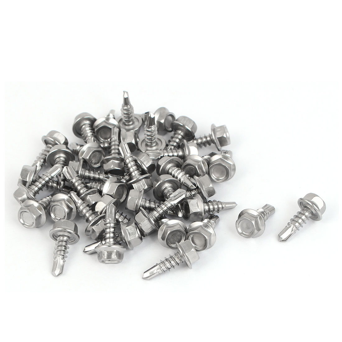 M4.2 x 13mm Male Thread Hex Washer Head Self Drilling Screws Bolts 40 Pcs