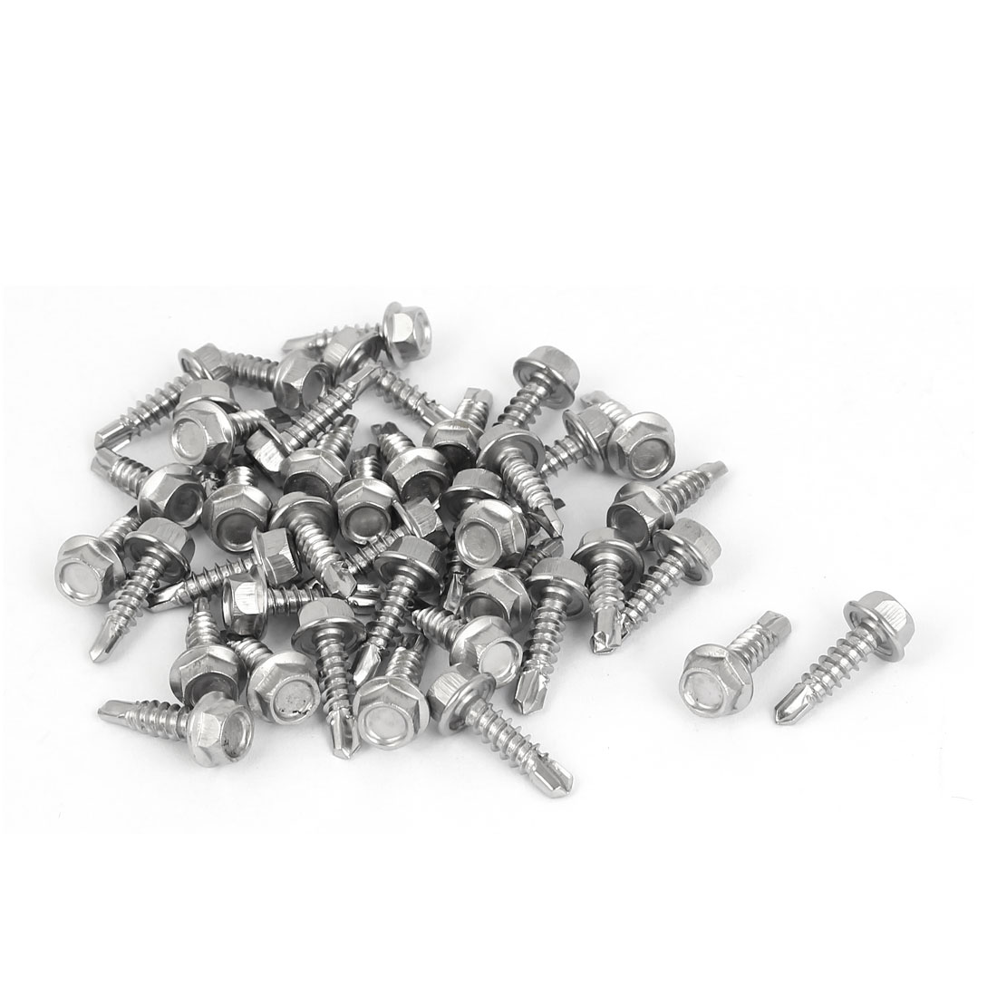 M4.2 x 16mm Male Thread Hex Washer Head Self Drilling Tek Screws 40 Pcs