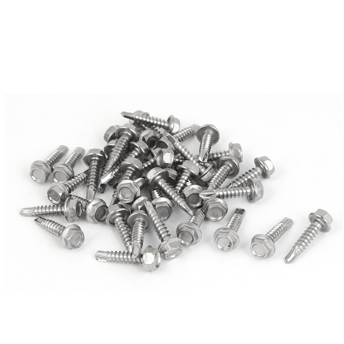 M4.2x19mm Thread 410 Stainless Steel Hex Washer Head Self Drilling Screws 40 Pcs