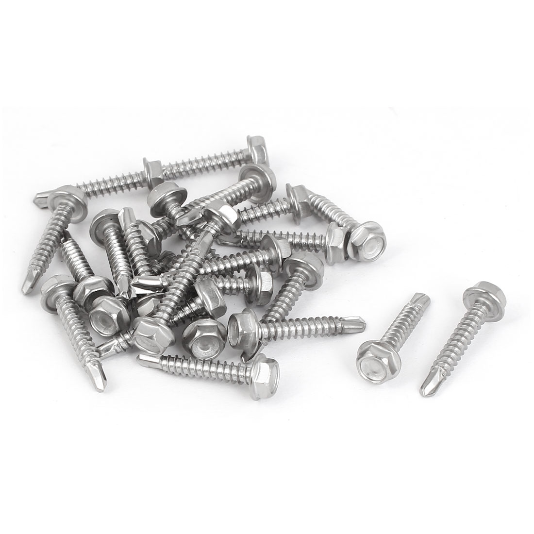 M4.2 x 25mm Male Thread Hex Washer Head Self Drilling Screws Bolts 25 Pcs