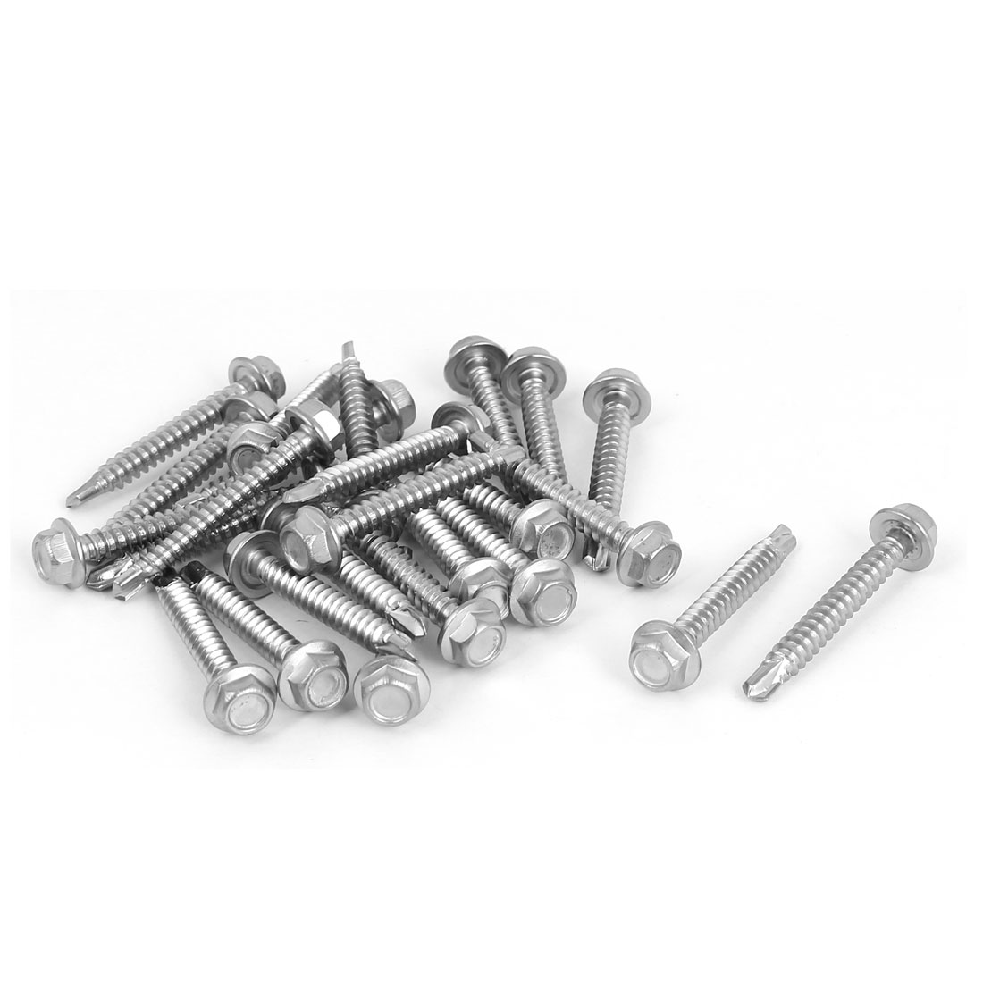 M4.2 x 32mm Thread Hex Washer Head Self Drilling Tek Screws Bolts 25 Pcs
