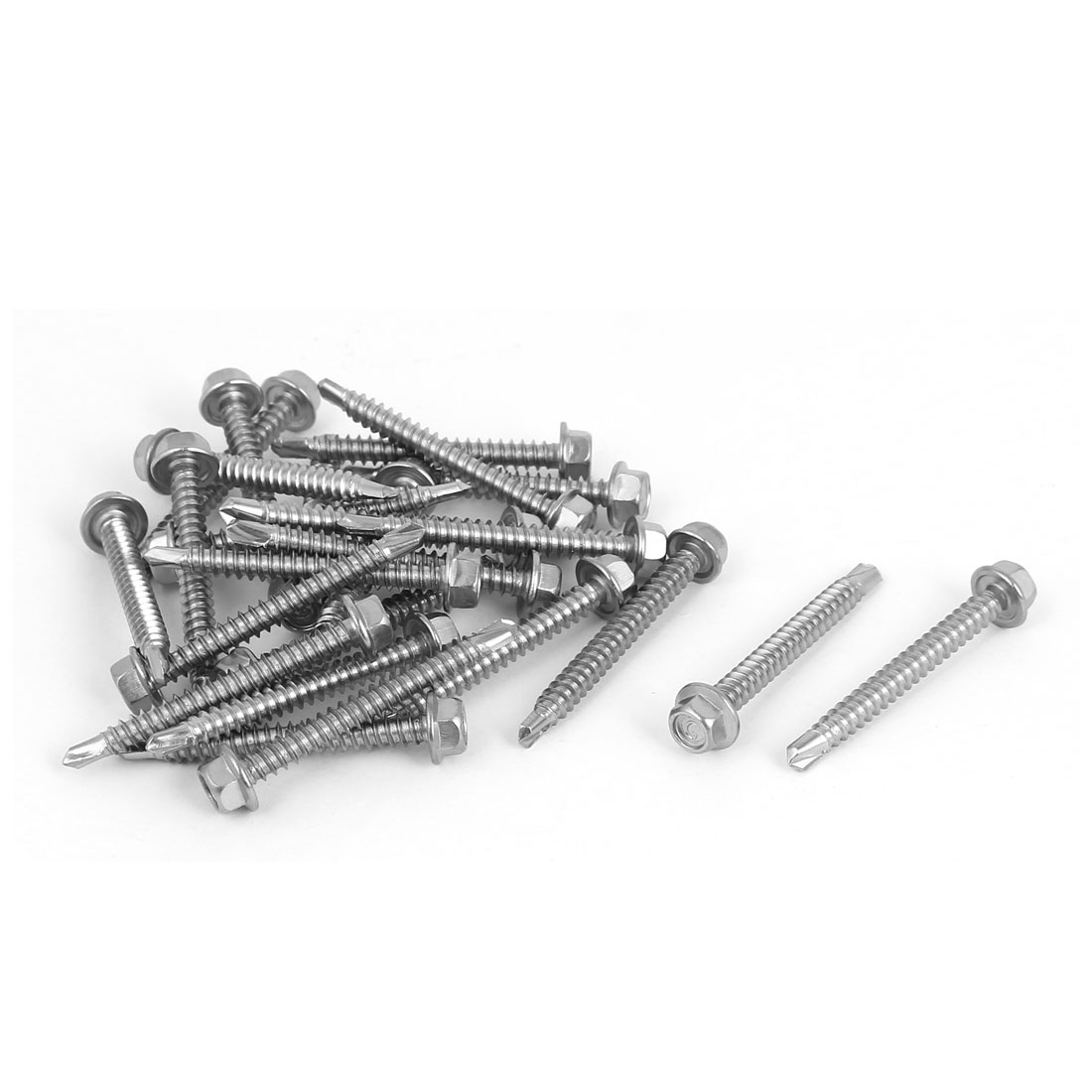 M4.2 x 38mm Thread 410 Stainless Steel Hex Head Self Drilling Screws 25 Pcs