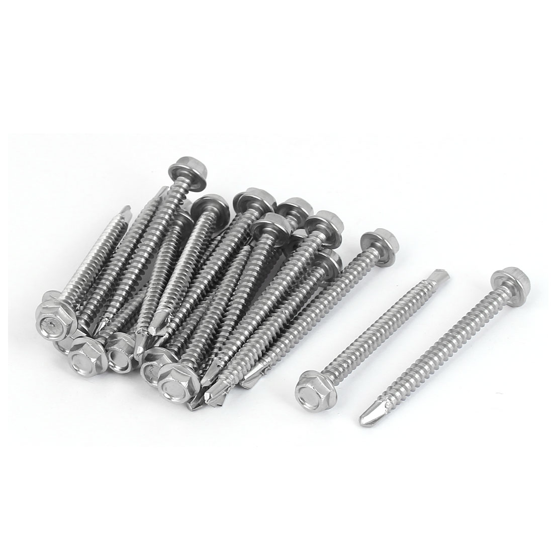 M4.2 x 45mm Male Thread Hex Washer Head Self Drilling Screws Bolts 20 Pcs