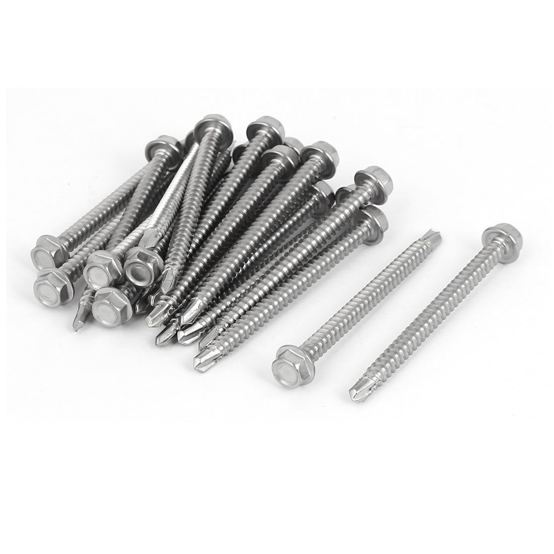 M4.2x50mm Thread 410 Stainless Steel Hex Washer Head Self Drilling Screws 20 Pcs