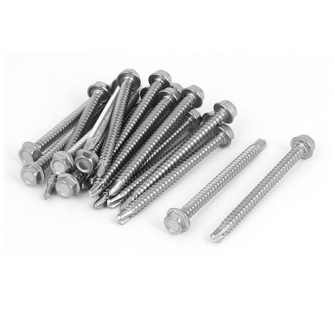 M4.2x50mm Thread 410 Stainless Steel Hex Washer Head Self Drilling Screws 20 Pcs