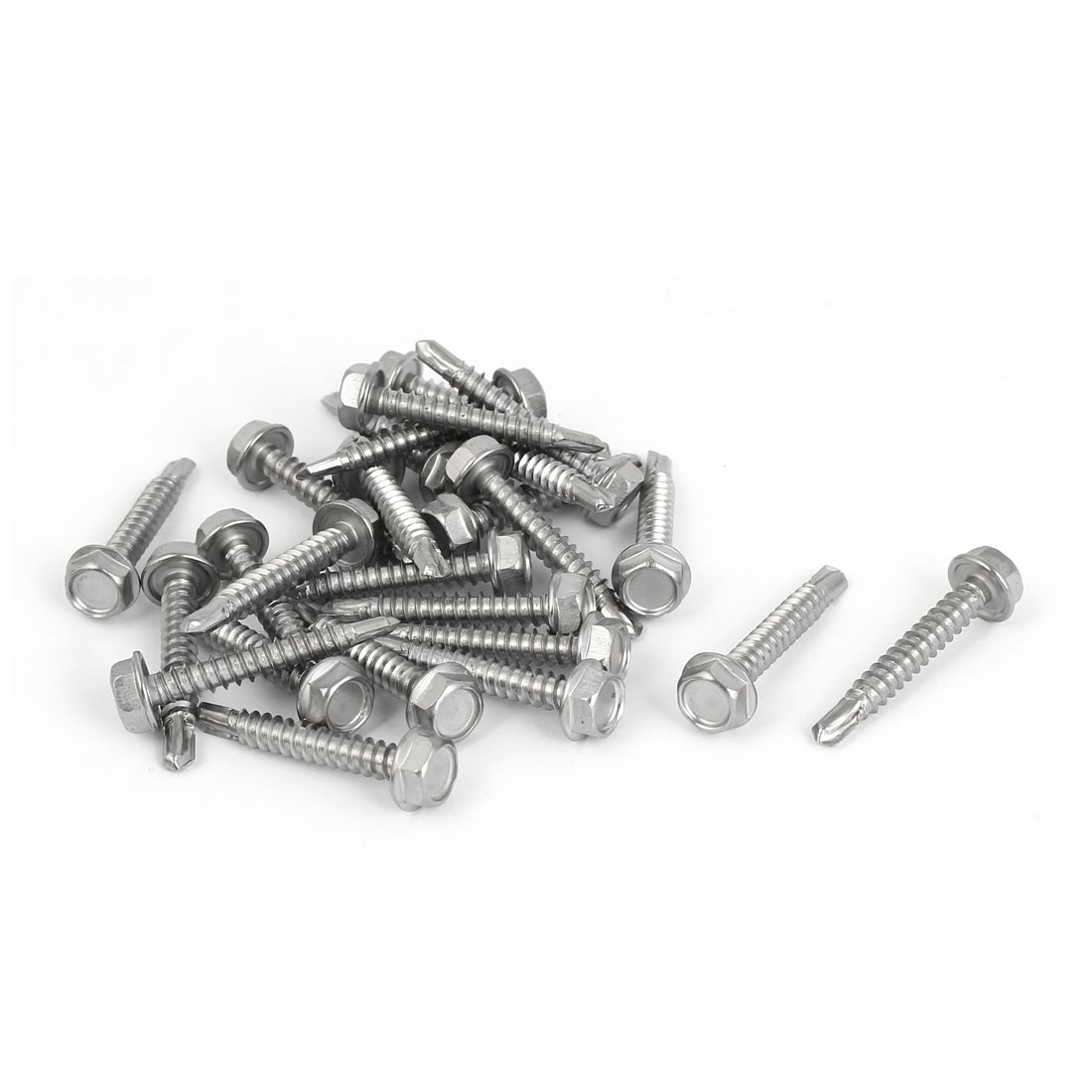 M4.8 x 32mm Thread Hex Washer Head Self Drilling Tek Screws Bolts 25 Pcs
