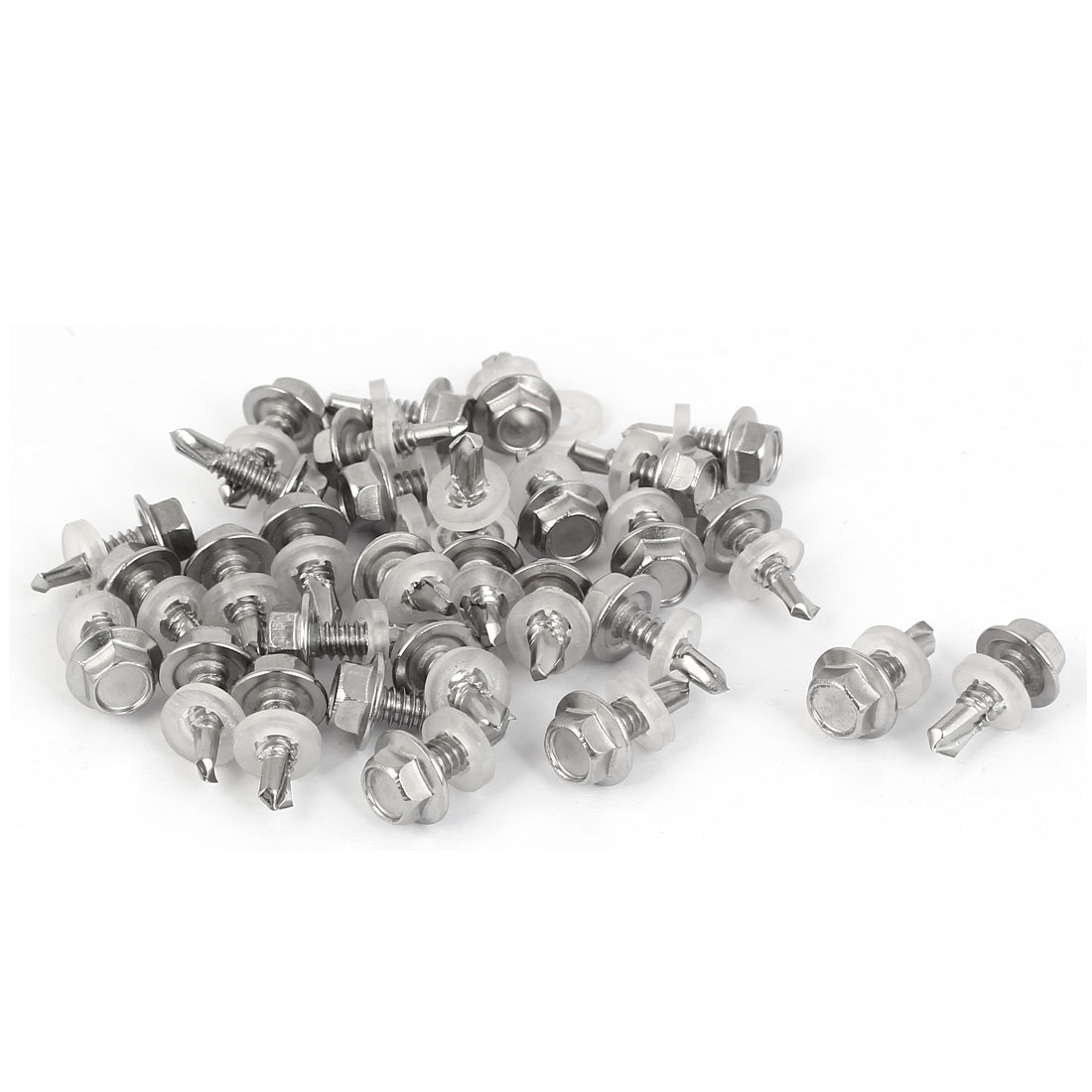 M5.5 x 16mm Male Thread 410 Stainless Steel Self Drilling Screw w Washer 30 Pcs