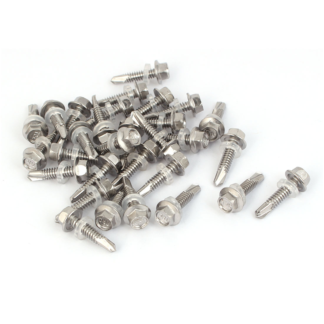 M5.5x25mm Thread 410 Stainless Steel Hex Head Self Drilling Screw w Washer 30pcs