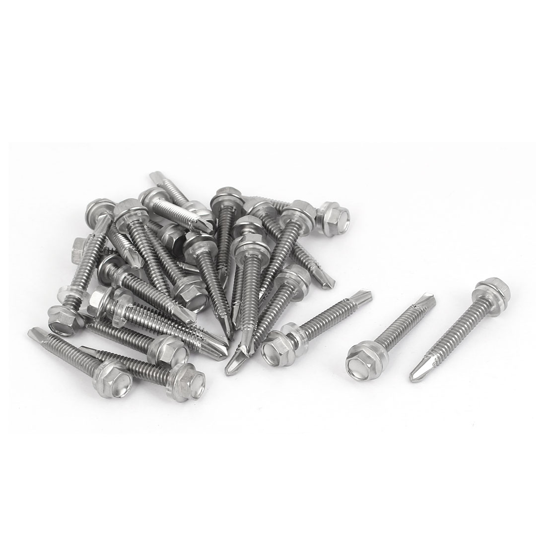 M5.5 x 38mm Male Thread Stainless Steel Self Drilling Tek Screw w Washer 25 Pcs