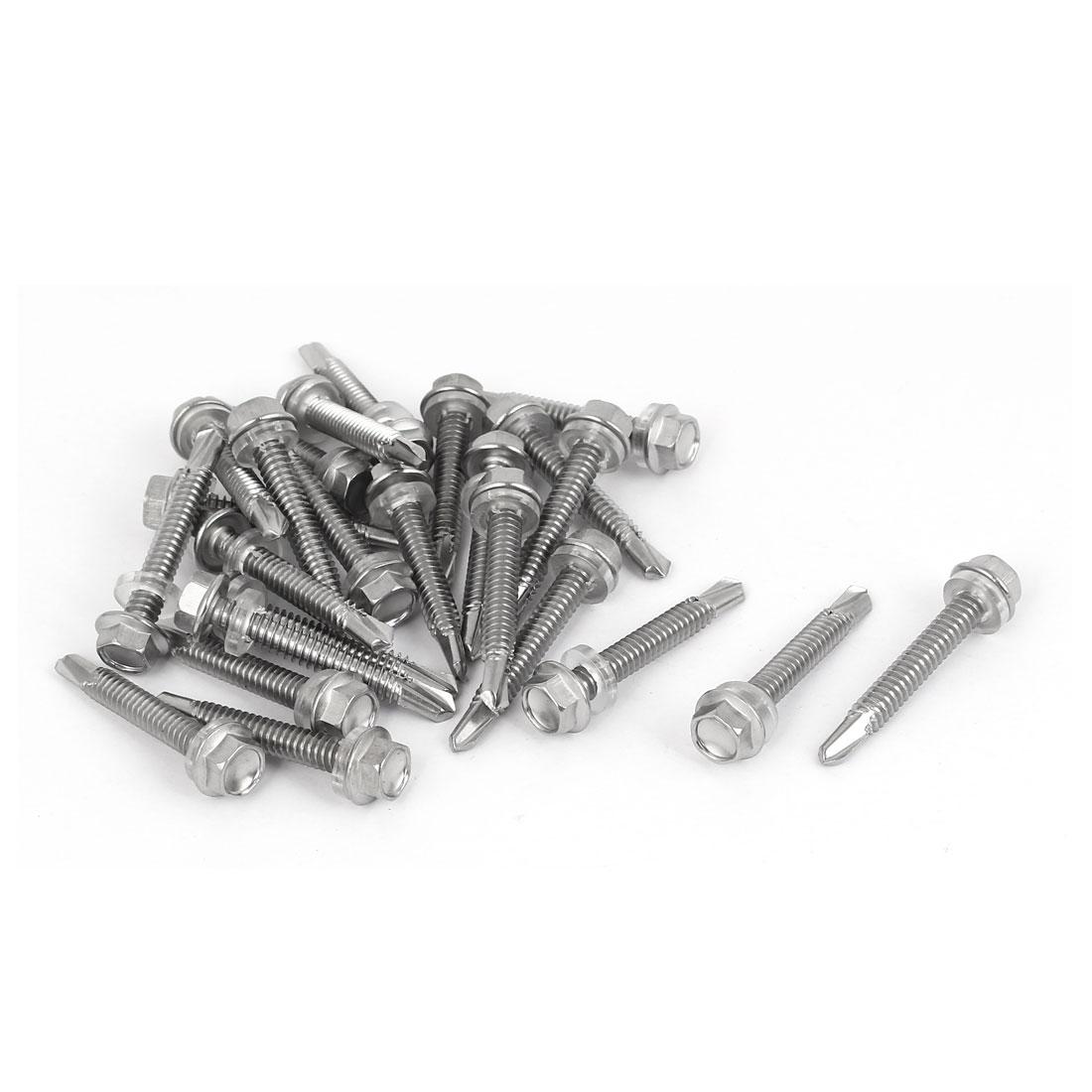 M5.5 x 38mm Male Thread Stainless Steel Self Drilling Tek Screw w Washer 25 Pcs