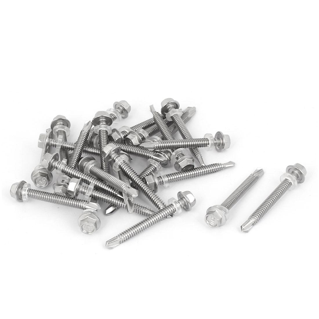M5.5x50mm Thread Stainless Steel Hex Head Self Drilling Tek Screw w Washer 25PCS