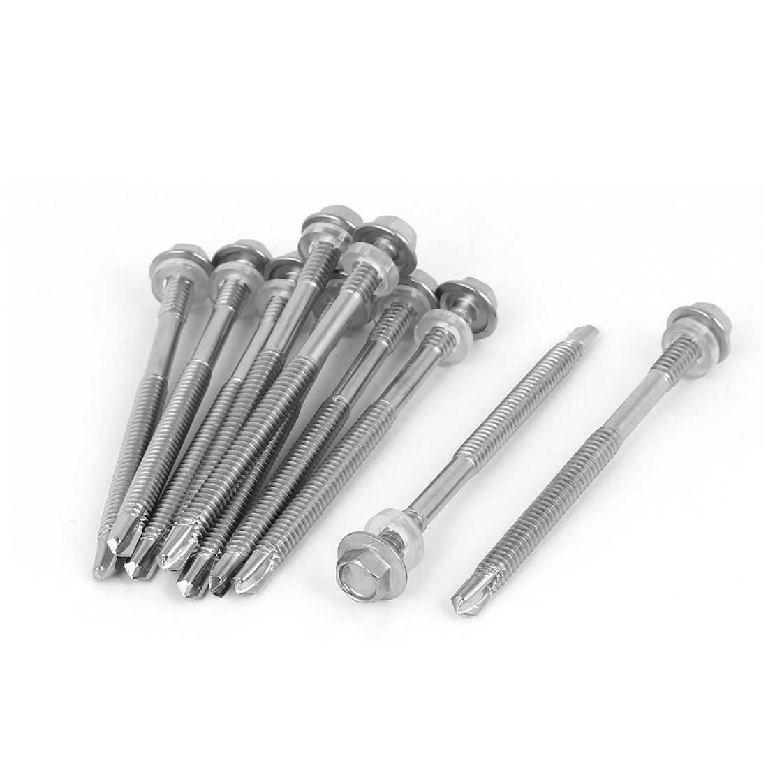 M5.5 x 75mm Thread 410 Stainless Steel Self Drilling Tek Screw w Washer 10 Pcs