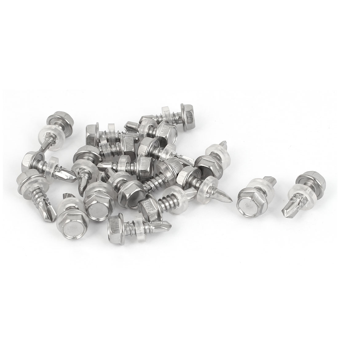 M6.3 x 19mm Male Thread 410 Stainless Steel Self Drilling Screw w Washer 20 Pcs