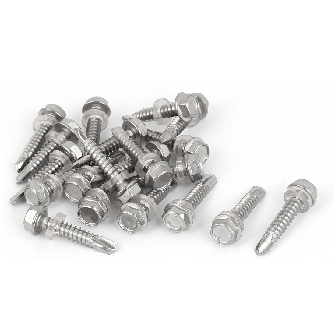 M6.3 x 32mm Thread Stainless Steel Hex Head Self Drilling Screw w Washer 20 Pcs