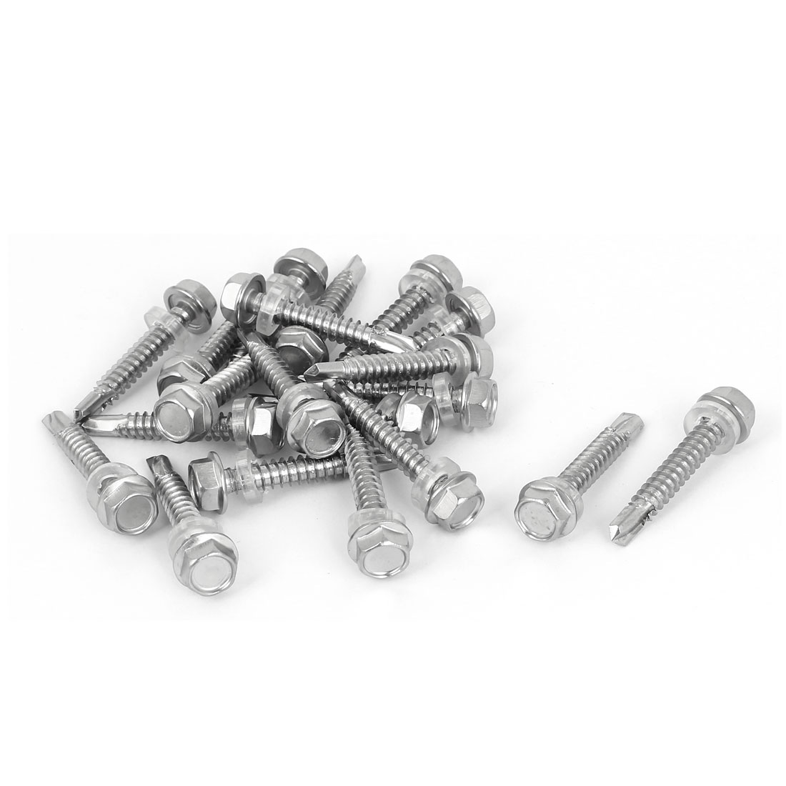 M6.3 x 38mm Thread 410 Stainless Steel Self Drilling Screw Bolt w Washer 20 Pcs