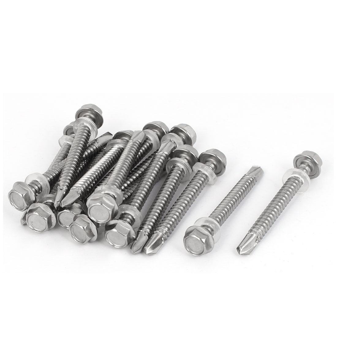 M6.3 x 55mm Thread 410 Stainless Steel Self Drilling Tek Screw w Washer 15 Pcs