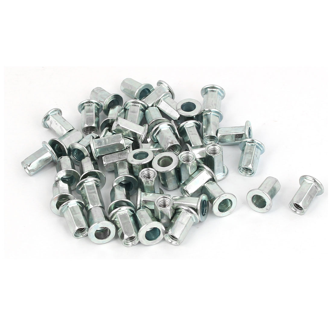 M4 x 11mm Flat Head Hex Body Open End Blind Rivet Nuts Nutserts Fasteners 50 Pcs