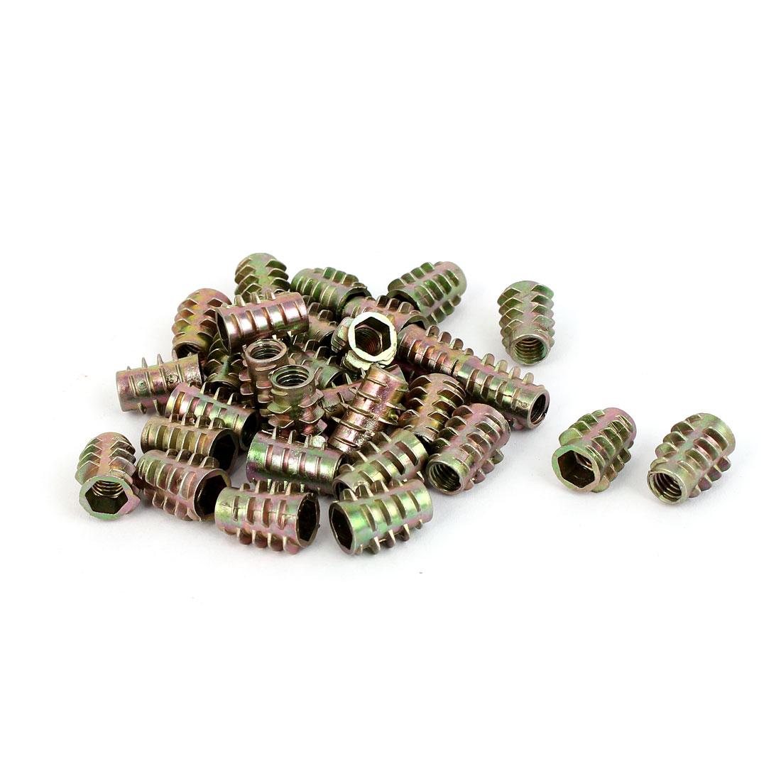 M6 x 15mm Alloy Hex Socket Screw in Thread Insert Nuts Bronze Tone 30 Pcs