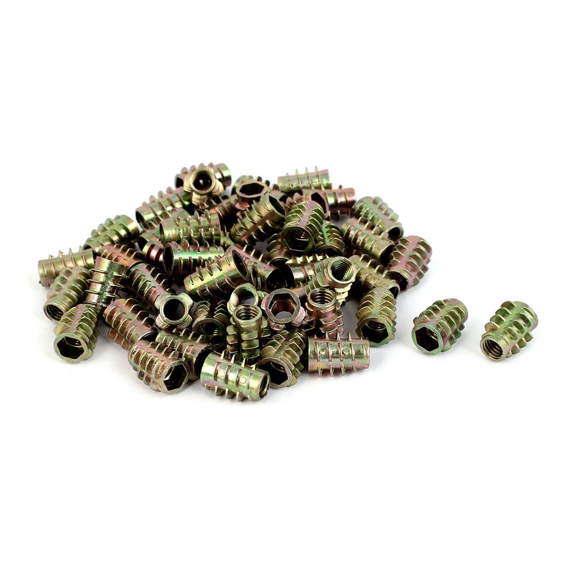 M6 Thread E-Nut Wood Insert Interface Screws Hex Socket Nut Fittings 50 Pcs
